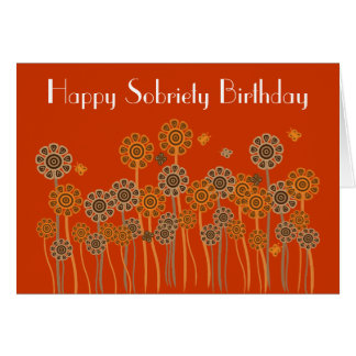 Bold Orange Retro Flowers Sobriety Birthday Card