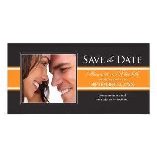 Bold Orange Stripe Save the Date Announcement Photo Card