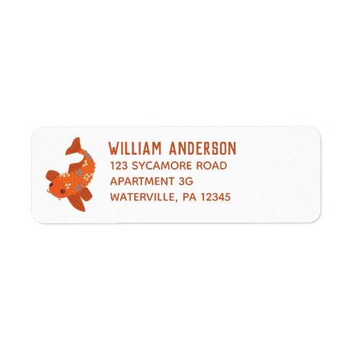 Bold Orange Swimming Koi Goldfish Return Address Label