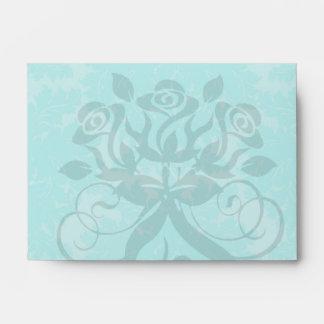 bold ornate aqua aquamarine blue damask pattern envelope