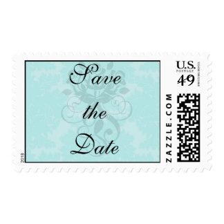 bold ornate aqua aquamarine blue damask pattern postage