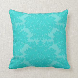 bold ornate aqua blue damask pattern throw pillows