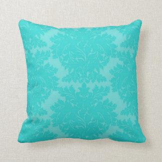 bold ornate aqua blue damask pattern throw pillow