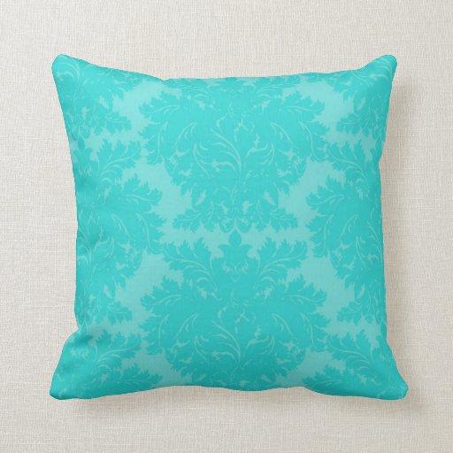 Cute Aqua Throw Pillows : bold ornate aqua blue damask pattern throw pillows Zazzle