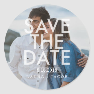 Bold Overlay Photo Save The Date Sticker