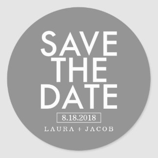Bold Overlay Save The Date Sticker Editable Color