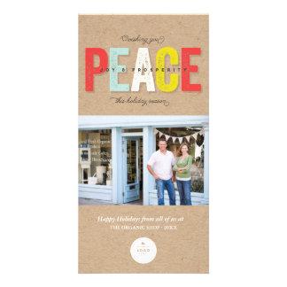 Bold Peace Joy Prosperity Logo Holiday Photo Card