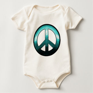 Bold Peace Sign ~ Turquise Baby Bodysuit