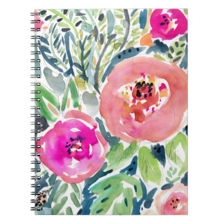 Bold Peach Painterly Watercolor Floral Spiral Notebook