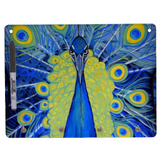 Bold Peacock Dry Erase Board With Keychain Holder