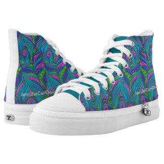 Bold Peacock Feather Print High-Top Sneakers