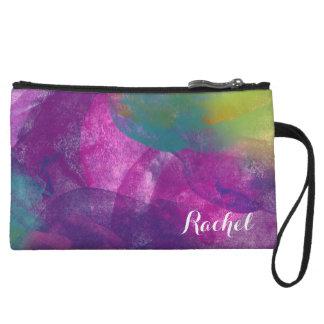 Bold peacock inspired watercolor design wristlet purse
