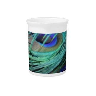 bold peafowl eyes beverage pitchers