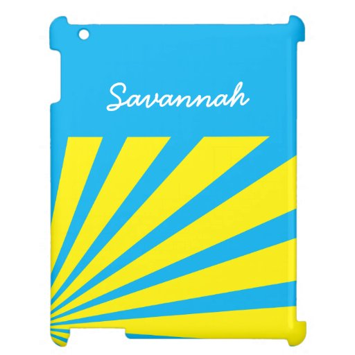 Bold Personalized Name Teal Yellow Starburst Case iPad Case