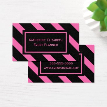 Lawyer Themed Bold Pink and Black Diagonal Stripes Pattern Business Card