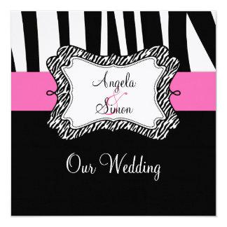 "Bold Pink Black Zebra Stripes Wedding Invitation 5.25"" Square Invitation Card"