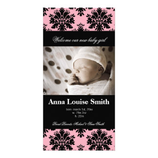 Bold Pink Damask Birth Announcement Cards