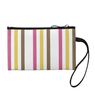 Bold Pink Gold Brown White Stripes Pattern Gifts Change Purse