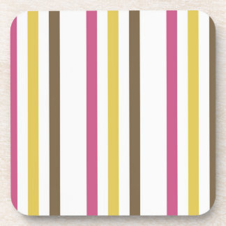 Bold Pink Gold Brown White Stripes Pattern Gifts Drink Coaster