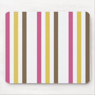Bold Pink Gold Brown White Stripes Pattern Gifts Mouse Pad