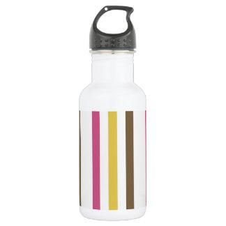 Bold Pink Gold Brown White Stripes Pattern Water Bottle