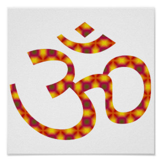 Bold Pink & Gold Pattern Om or Aum ॐ.png Poster