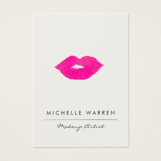 Bold Pink Lips Watercolor Makeup Artist Business Card ...
