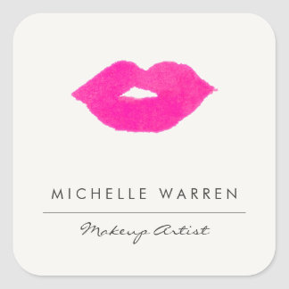 Bold Pink Lips Watercolor Stickers