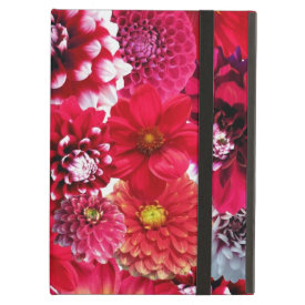 Bold Pink Magenta Dahlia Flowers Floral Collage iPad Folio Cases