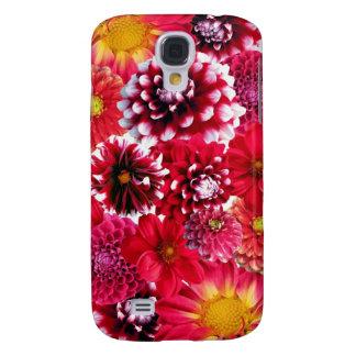 Bold Pink Magenta Dahlia Flowers Floral Collage Samsung S4 Case