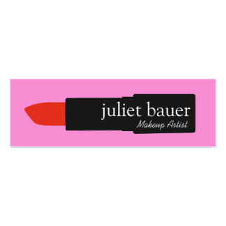 Bold Pink Makeup Artist Lipstick Logo Beauty Double-Sided Mini Business Cards (Pack Of 20)