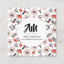 Bold Pink & Orange Floral Business Card