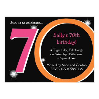 Bold Pink & Orange Seventieth 70th Birthday Party Card