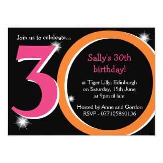 Bold Pink & Orange Thirtieth 30th Birthday Party 5.5x7.5 Paper Invitation Card