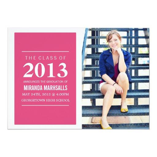 Bold Pink Photo Graduation Announcements