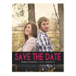 Bold Pink Photo Save The Date Post Cards