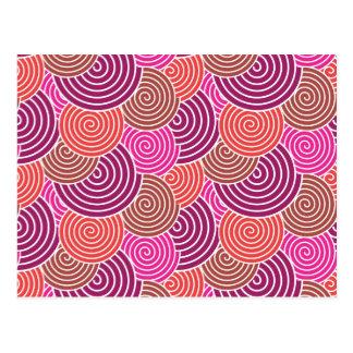 Bold Pink Purple Layered Spirals Pattern Postcard