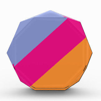 Bold Pink Purple Orange and Tan Stripes Pattern Acrylic Award