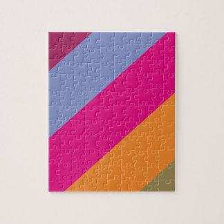 Bold Pink Purple Orange and Tan Stripes Pattern Jigsaw Puzzle