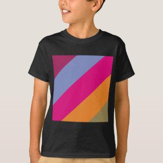 Bold Pink Purple Orange and Tan Stripes Pattern T-Shirt