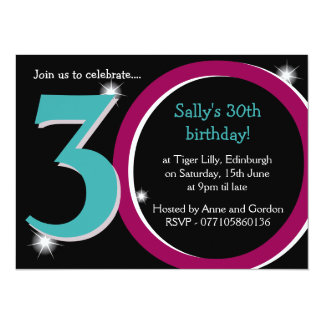 Bold Pink & Teal Thirtieth 30th Birthday Party 5.5x7.5 Paper Invitation Card