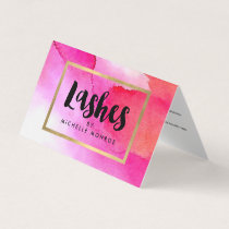 Bold Pink Watercolors Lash Extensions Aftercare Business Card