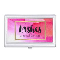 Bold Pink Watercolors Lash Extensions Salon Business Card Case