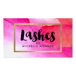 Bold Pink Watercolors Lashes Lash Salon Business Card