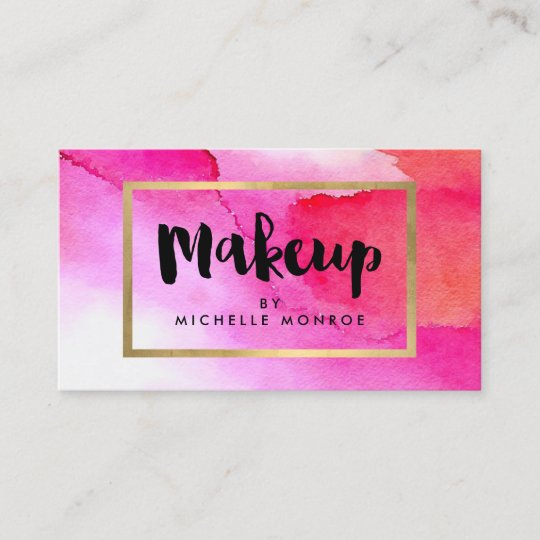 bold pink watercolors makeup artist business card - Artist Business Cards