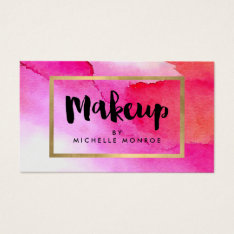 Bold Pink Watercolors Makeup Artist Business Card at Zazzle
