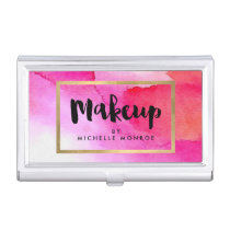 Bold Pink Watercolors Makeup Artist Case For Business Cards