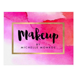 Bold Pink Watercolors Makeup Artist Postcard