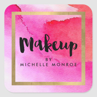 Bold Pink Watercolors Makeup Artist Square Sticker