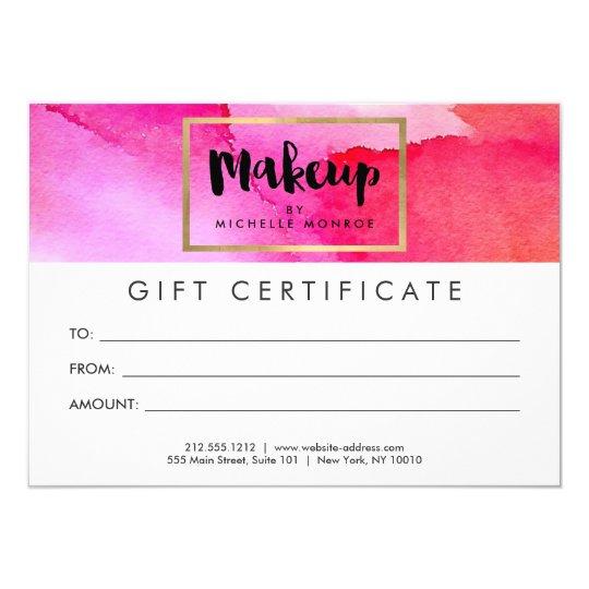 Bold pink watercolors makeup gift certificate card zazzlecom for Zazzle gift certificate